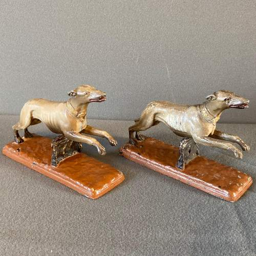 Pair of ASCO Cold Painted Pewter Greyhounds image-2
