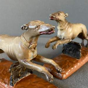 Pair of ASCO Cold Painted Pewter Greyhounds