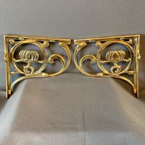Pair of Brass Art Nouveau Wall Shelf Brackets