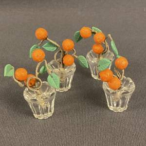 Four Czech Glass Orange Tree Place Name Holders