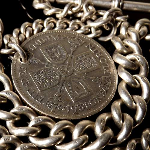 Victorian Silver 1889 Albert Watch Chain and Silver Florin Coin Fob image-3