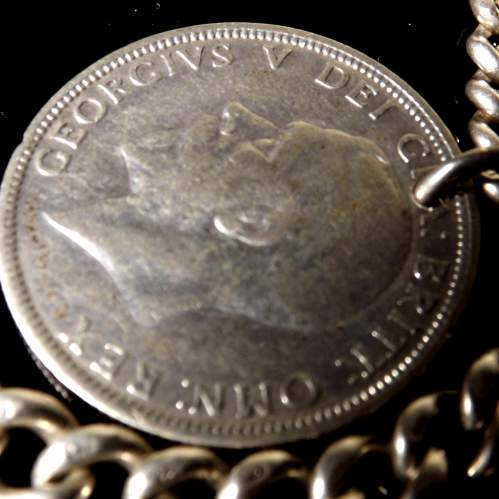 Victorian Silver 1889 Albert Watch Chain and Silver Florin Coin Fob image-4