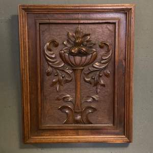 Carved Walnut Wall Panel of a Flower
