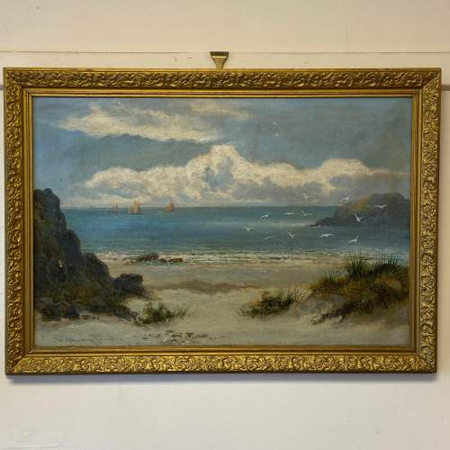 William Langley Oil on Canvas Beach Scene Oil Painting image-1