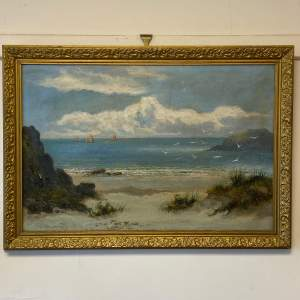 William Langley Oil on Canvas Beach Scene Oil Painting