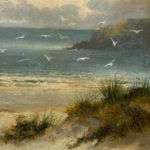 William Langley Oil on Canvas Beach Scene Oil Painting image-3