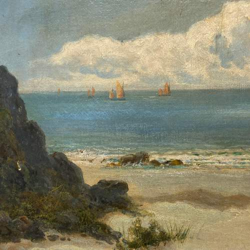 William Langley Oil on Canvas Beach Scene Oil Painting image-2