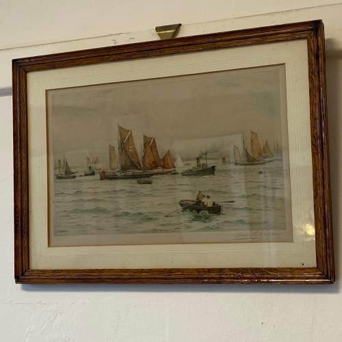 Henry G Walker Signed Coloured Etching of Boats at Sea image-1