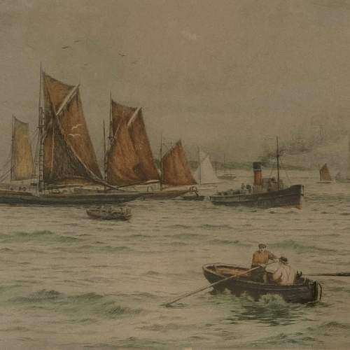 Henry G Walker Signed Coloured Etching of Boats at Sea image-2