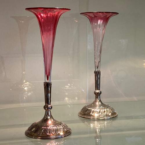 Pair of Cranberry Glass Vases in Silver Plated Holders image-1