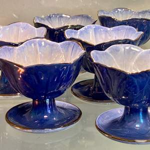 Set of Six Maling Lustre Dessert Dishes