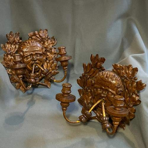 Pair of French 19th Century Carved Oak Wall Lights image-1