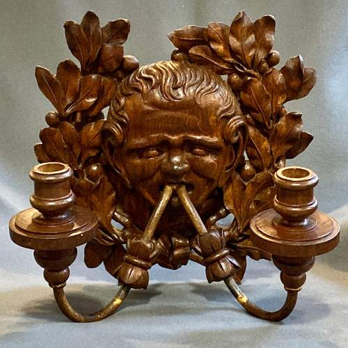 Pair of French 19th Century Carved Oak Wall Lights image-4