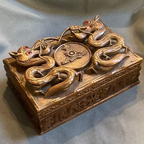 Indian Carved Hardwood Box with Royal Artillery Crest image-1