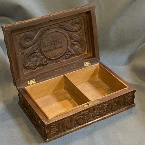 Indian Carved Hardwood Box with Royal Artillery Crest image-2