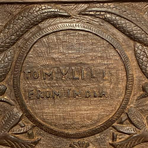 Indian Carved Hardwood Box with Royal Artillery Crest image-5