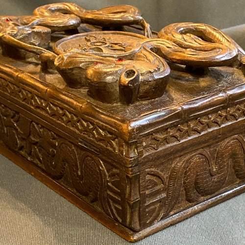 Indian Carved Hardwood Box with Royal Artillery Crest image-3