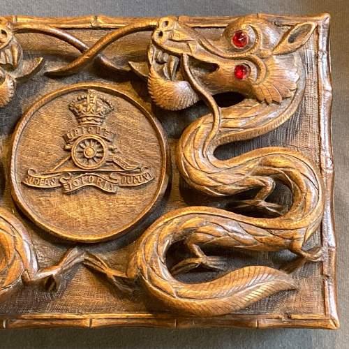 Indian Carved Hardwood Box with Royal Artillery Crest image-4