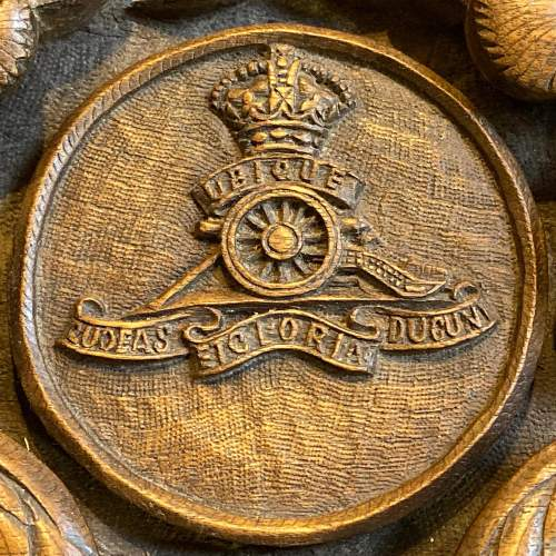 Indian Carved Hardwood Box with Royal Artillery Crest image-6