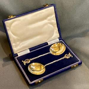 Cased Pair of Silver Gilt Serving Spoons