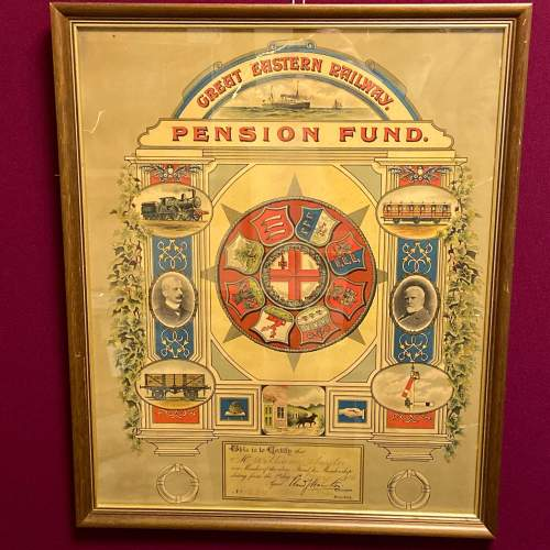 Great Eastern Railway Framed Pension Fund Certificate image-1