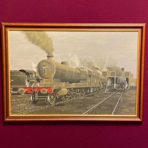 Original C Willman Painting on Board of Ex GCR Locomotive 63601 image-1