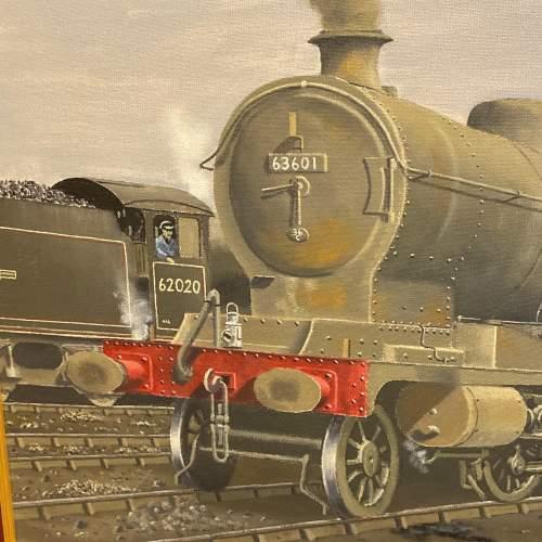 Original C Willman Painting on Board of Ex GCR Locomotive 63601 image-2