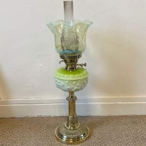 Large Victorian Oil Lamp with Original Vaseline Glass Shade