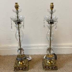 Pair of 20th Century Glass and Brass Plated Lamps