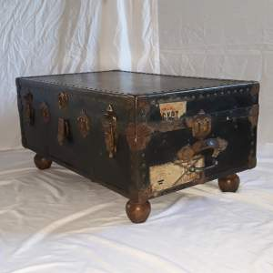 Large Vintage RAF Wood and Leather Trunk Coffee Table