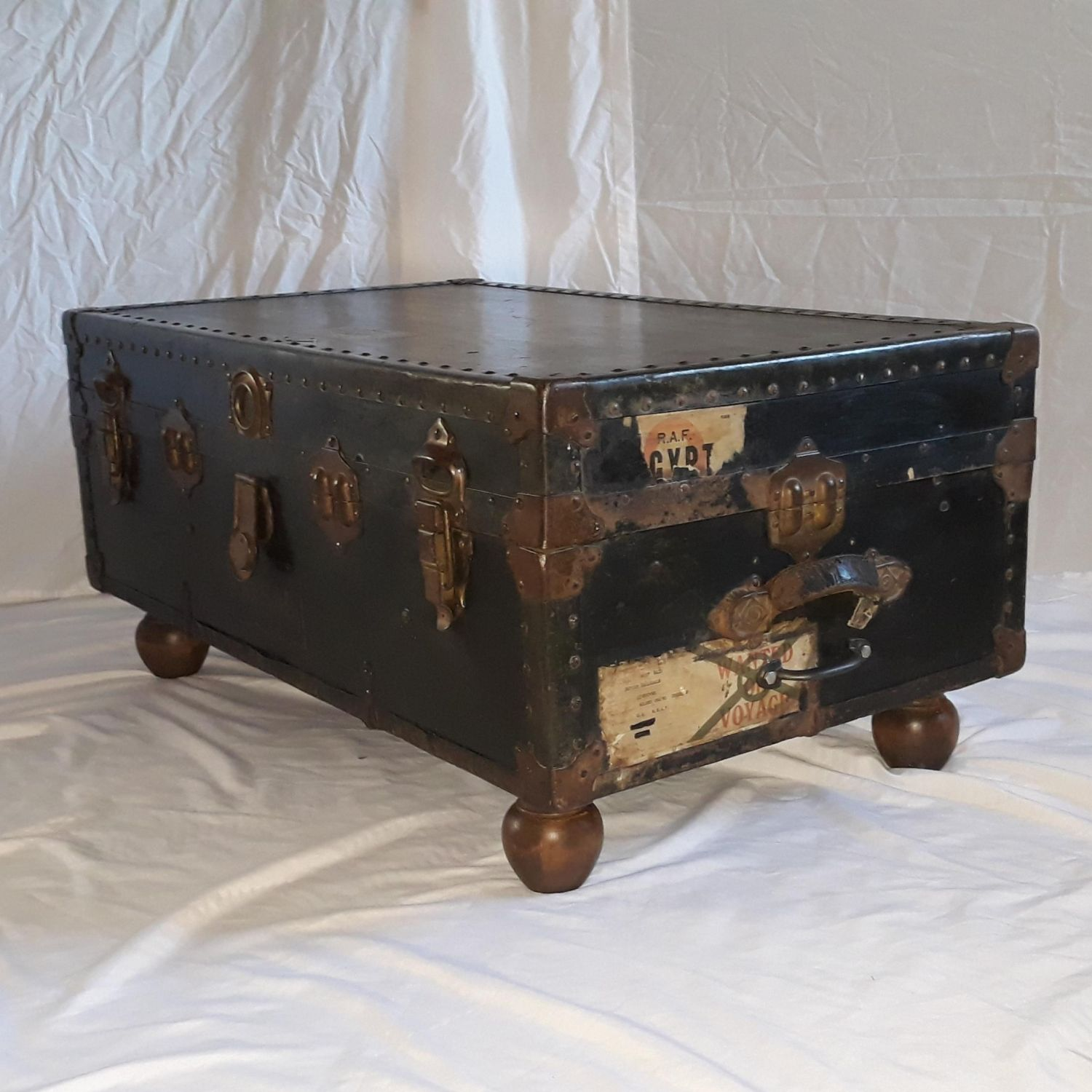 - Large Vintage RAF Wood And Leather Trunk (upcycled Into A Coffee