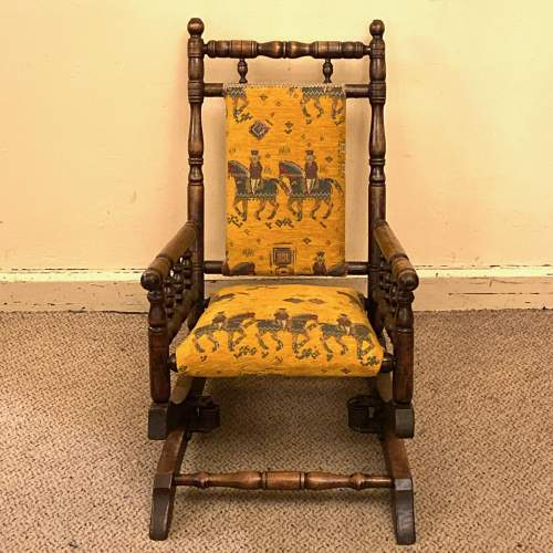 19th Century Upholstered Childs American Rocking Chair image-1