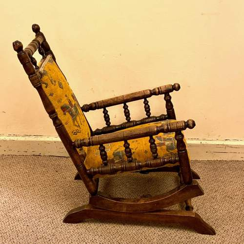 19th Century Upholstered Childs American Rocking Chair image-2