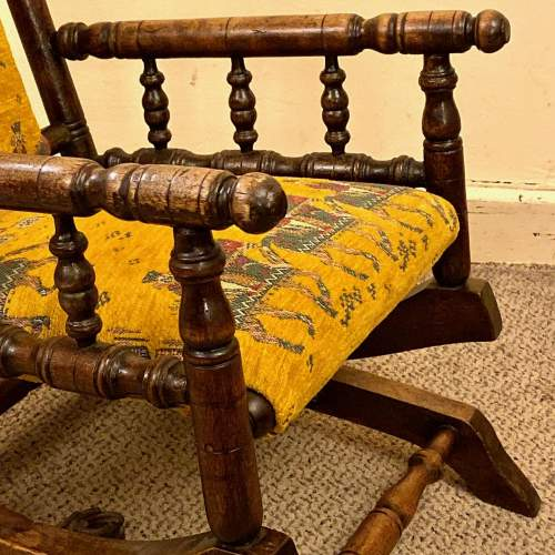 19th Century Upholstered Childs American Rocking Chair image-3