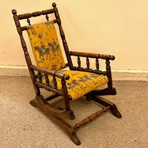 19th Century Upholstered Childs American Rocking Chair image-4