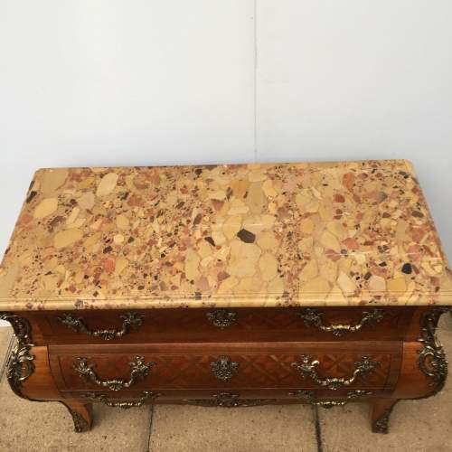 A French 19th Century Brass Mounted Kingwood And Parquetry Bombe Commode image-2