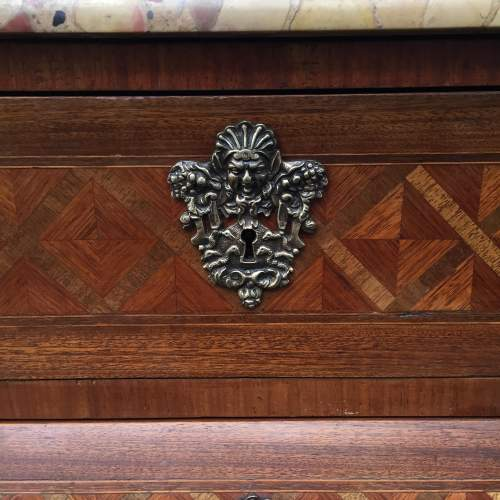 A French 19th Century Brass Mounted Kingwood And Parquetry Bombe Commode image-5
