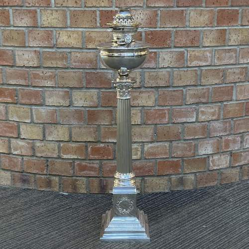 Quality Mappin and Webb Silver Plate Oil Lamp Base image-1