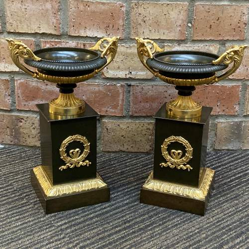 Pair of 19th Century French Bronze and Gilt Tazzas image-1