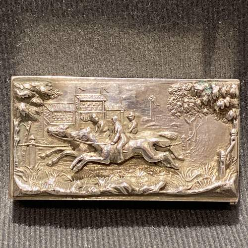 Victorian Silver Vesta Case with a Horse Racing Scene image-1