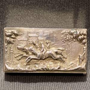 Victorian Silver Vesta Case with a Horse Racing Scene