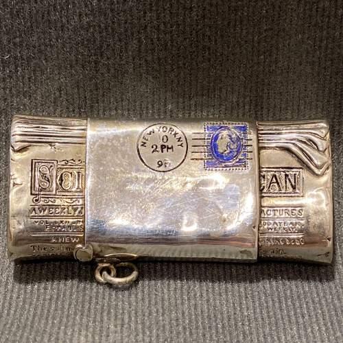 Victorian Silver American Novelty Newspaper Roll Vesta Case image-1
