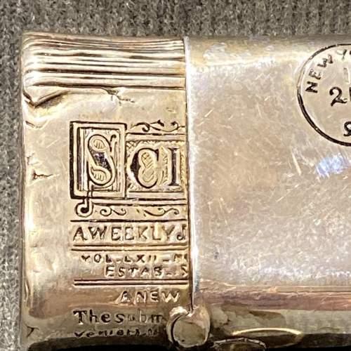 Victorian Silver American Novelty Newspaper Roll Vesta Case image-2