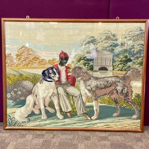 Large Mahogany Framed Tapestry of a Boy and Dogs