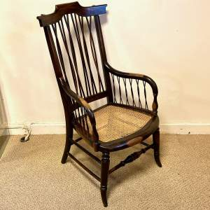 Unusual 19th Century Rattan Seated Armchair