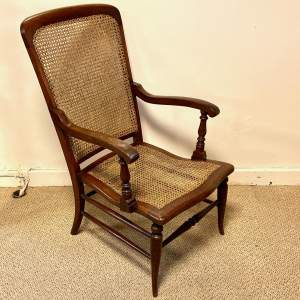 19th Century Mahogany Rattan Back and Seated Armchair