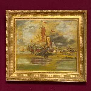 W Webb 19th Century Oil on Board of Anchored Boats