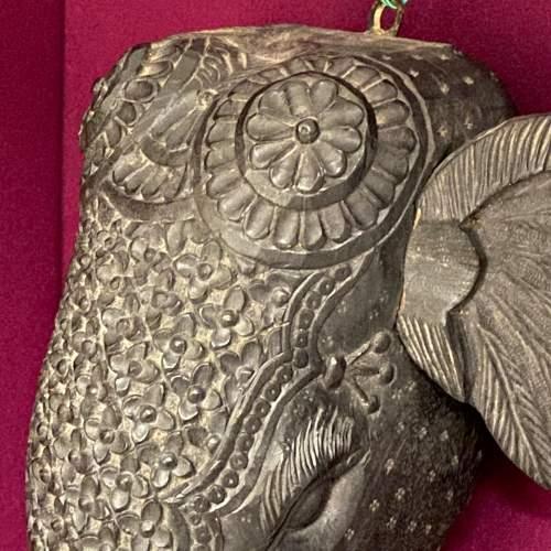 Carved Burmese Teak Elephants Head image-4