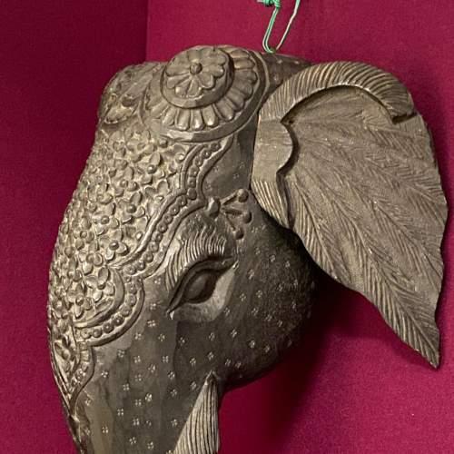 Carved Burmese Teak Elephants Head image-5