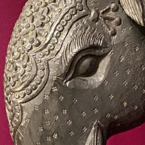 Carved Burmese Teak Elephants Head image-6